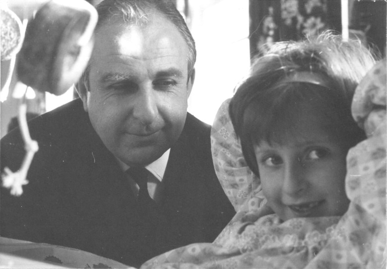 Michael Bond with a 6-year-old Karen